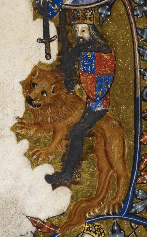 Detail of an historiated initial showing the King of England mounted on a lion, CA. 1370