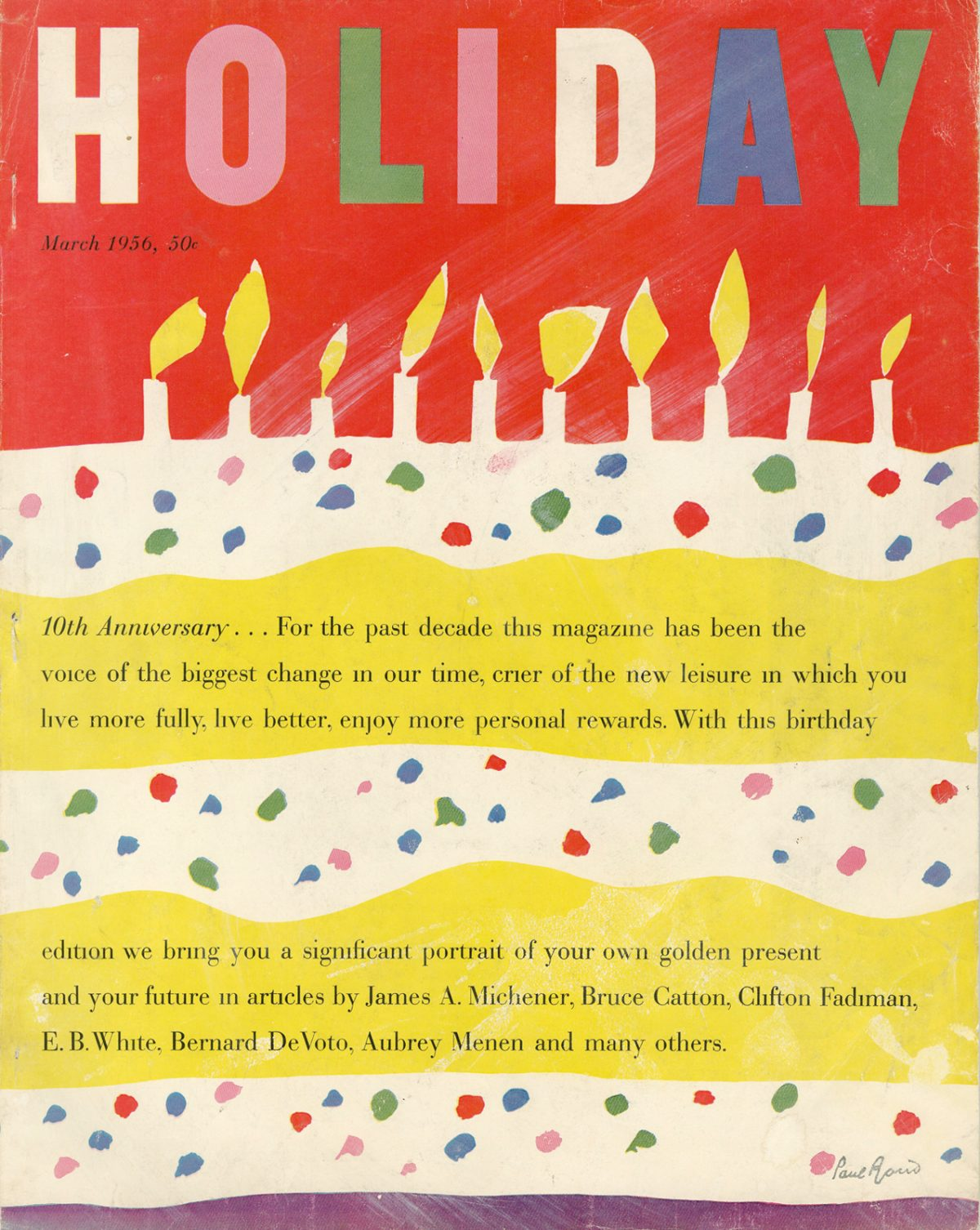 Holiday, March 1956. Cover artwork by Paul Rand.